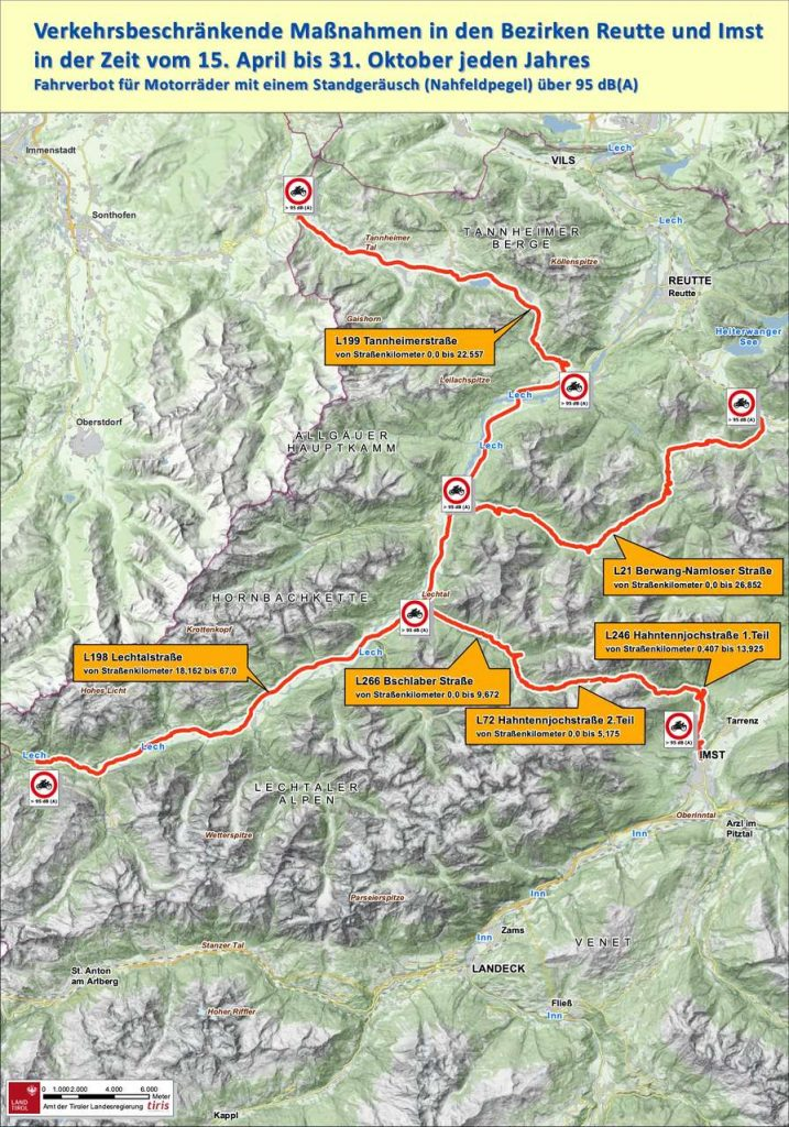 Karte Lärmfahrverbote in Tirol
